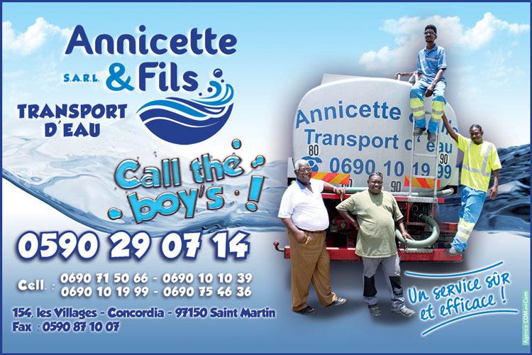 ANNICETTE ET FILS - Transport d'eau - Annuaire Téléphonique Saint-Martin