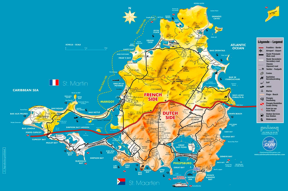 Saint Martin Sint Maarten - Geographie - Map Sxm