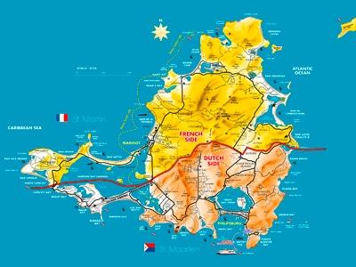 Saint Martin - Sint Maarten Friendly Island Guide - Map Sxm